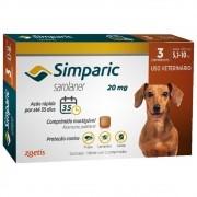 Antipulgas, Carrapatos e Sarnas Simparic 20 mg (Sarolaner) para Cães de 5,1 a 10 kg - Zoetis (3 comprimidos)