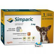 Antipulgas, Carrapatos e Sarnas Simparic 5 mg (Sarolaner) para Cães de 1,3 a 2,5 kg - Zoetis (1 comprimido)