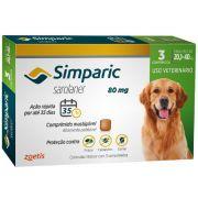 Antipulgas, Carrapatos e Sarnas Simparic 80 mg (Sarolaner) para Cães de 20,1 a 40 kg - Zoetis (3 comprimidos)
