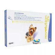 Antipulgas, Carrapatos, Sarnas e Vermes Revolution 12% para Cães 2,6 a 5kg - Zoetis (combo com 3 pipetas)