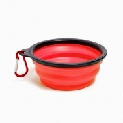 Comedouro Dobrável/Portátil de Silicone - Bom Amigo (Vermelho)