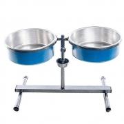 Comedouro Duplo Premium Ajustável Antiformiga Médio 5 litros (Azul) Nf Pet