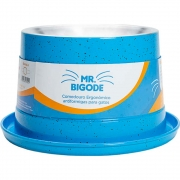 Comedouro Ergonômico Antiformigas Mr. Bigodes para Gatos 250 ml  - NF Pet (Azul)