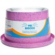 Comedouro Ergonômico Antiformigas Mr. Bigodes para Gatos 250 ml  - NF Pet (Rosa)