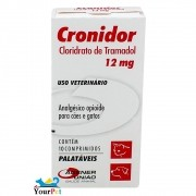 Cronidor 12mg - Analgésico para Cães e Gatos à base de Cloridrato de Tramadol - Agener (10 comprimidos)