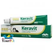 Keravit - Pomada oftálmica antibiótica e anti-inflamatória - Vetnil (5 g)