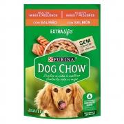 Kit com 15 - Alimento úmido Dog Chow Sachê Sabor Salmão Raças Pequenas para Cães Adultos extra life Nestlé Purina (100g)