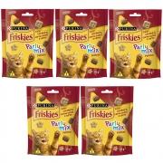 Kit com 5 - Petiscos Friskies Party Mix Cordeiro, Carne Suína e Carne Gatos Adultos - Nestlé Purina (40 g)