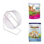 Kit para Hamster e Gerbil  Alimento Mega Zoo 350g Alimento Serelepe 750g Roda Gira-gira 20 cm Branca