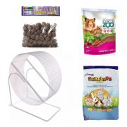 Kit para Hamster e Gerbil - Alimento Mega Zoo 350g Alimento Serelepe 750g Rodinha 20 cm Branca e Labina Jaal 250g