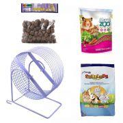 Kit para Hamster e Gerbil - Alimento Mega Zoo 350g Alimento Serelepe 750g Rodinha 20 cm Lilás e Labina Jaal 250g