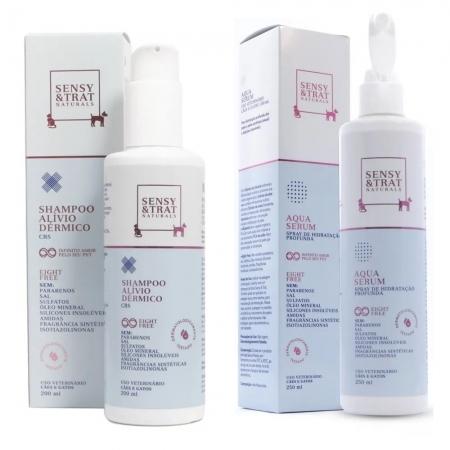 Kit Sensy & Trat - Spray Aqua Serum (250ml) + Shampoo Alívio Dérmico (200ml) - Centagro