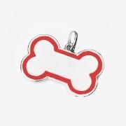 Pingente de Identificação -  Osso decorado G - Bom Amigo (Vermelho)