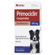 Primociclin 100 mg (Enrofloxacino) - Antimicrobiano de largo espectro de ação para Cães - Coveli (10 comprimidos)