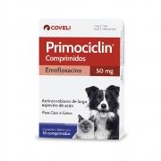 Primociclin 50 mg (Enrofloxacino) - Antimicrobiano de largo espectro de ação para Cães - Coveli (10 comprimidos)