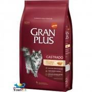 Ração Gran Plus Castrados Salmão e Arroz para Gatos Adultos (10,1 kg / 10 pacotes individuais de 1kg cada) - Guabi
