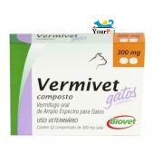 Vermivet Composto Gatos - Vermífugo Oral de Amplo Espectro para Gatos - Biovet (2 comprimidos de 300 mg cada)