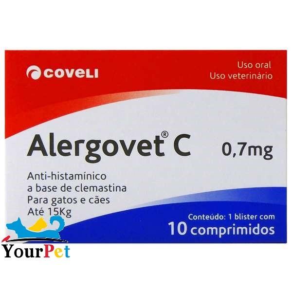 Alergovet C 0,7mg - Anti-histamínico a base de Clemastina para Gatos e Cães de até 15 kg - Coveli (10 comprimidos)