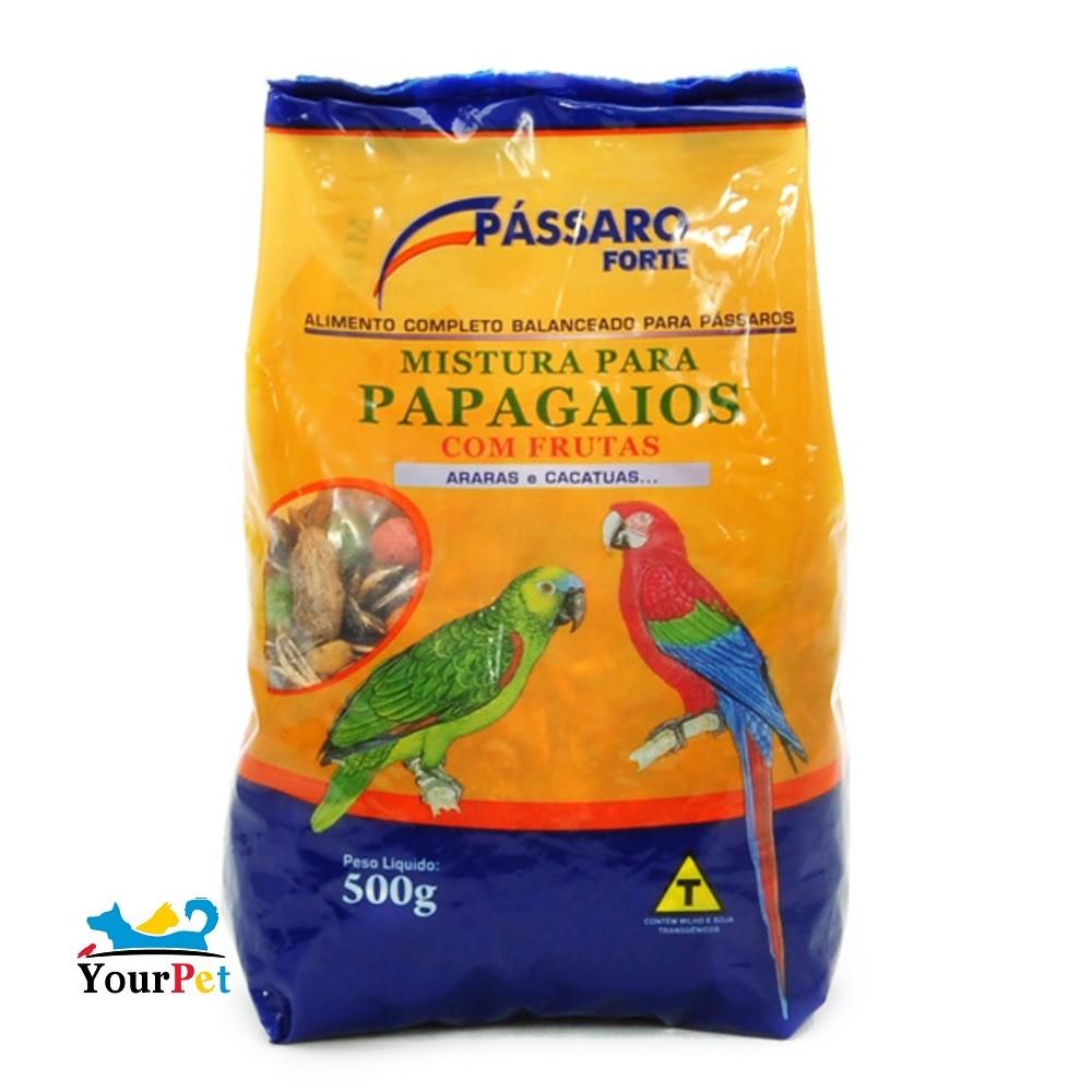 Alimento Completo Mistura com Frutas para Papagaios, Araras e Cacatuas - Pássaro Forte (500g)