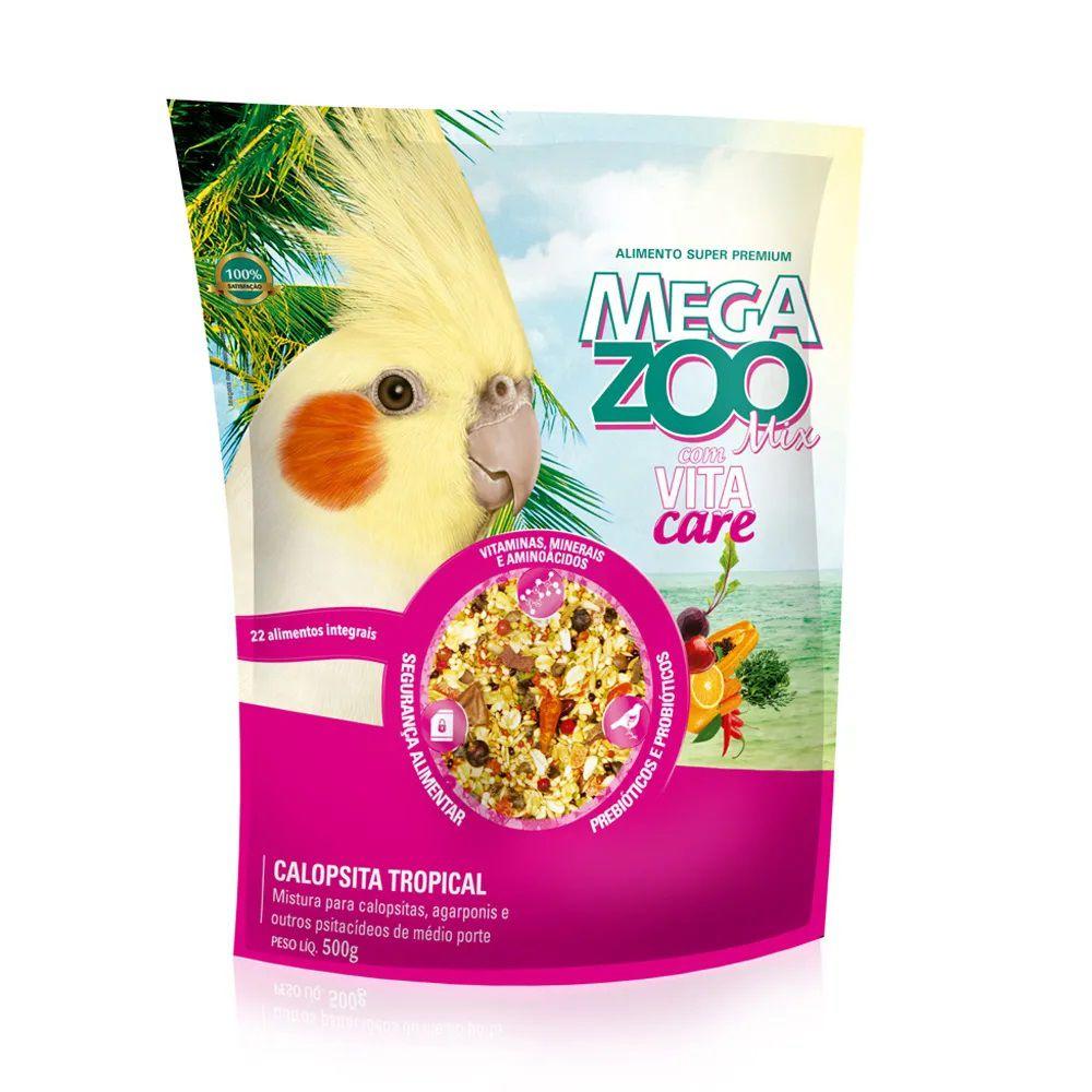 Alimento Super Premium MegaZoo Mix Calopsita Tropical - Mistura para Calopsitas, Agapornis e outros psitacídeos (500g)