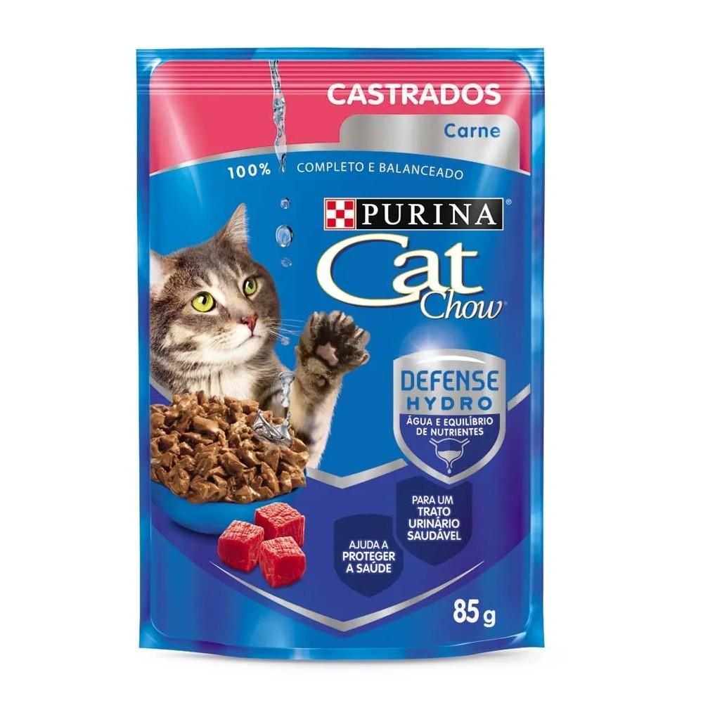 Alimento úmido Cat Chow Castrados Carne ao Molho para Gatos - Nestlé Purina (85g)