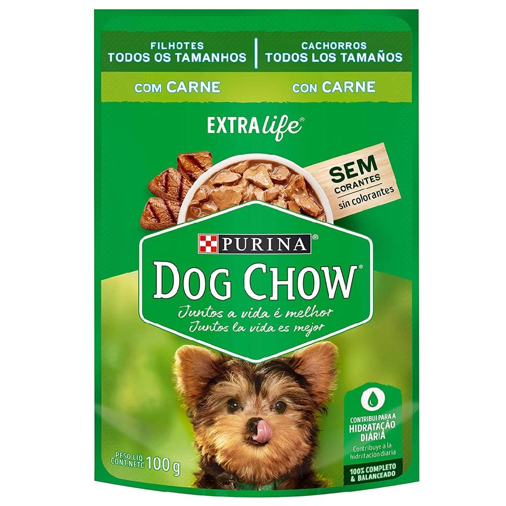 Alimento úmido Dog Chow Sachê Sabor Carne Filhotes todos os tamanhos  extra life - Nestlé Purina (100g)
