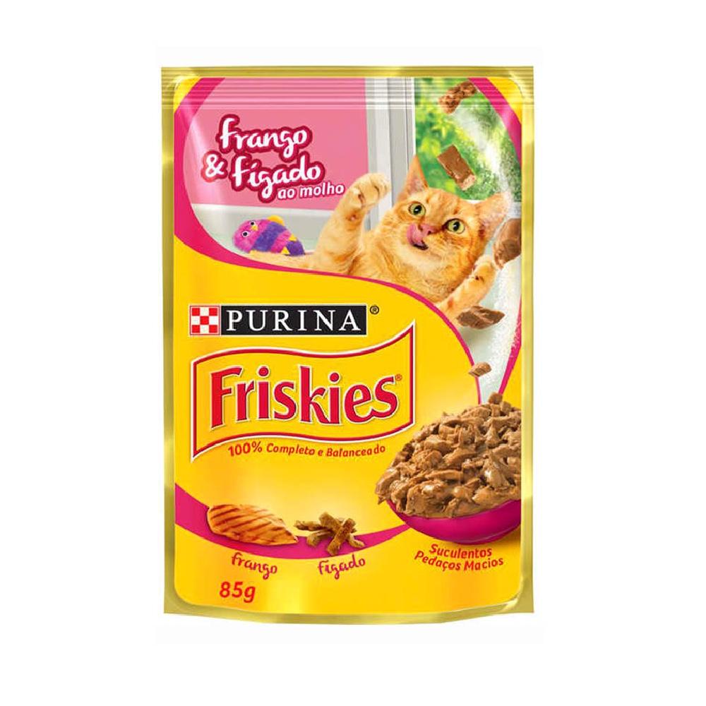 Alimento úmido Friskies Sachê Frango e Fígado ao Molho para Gatos Adultos - Nestlé Purina (85g)