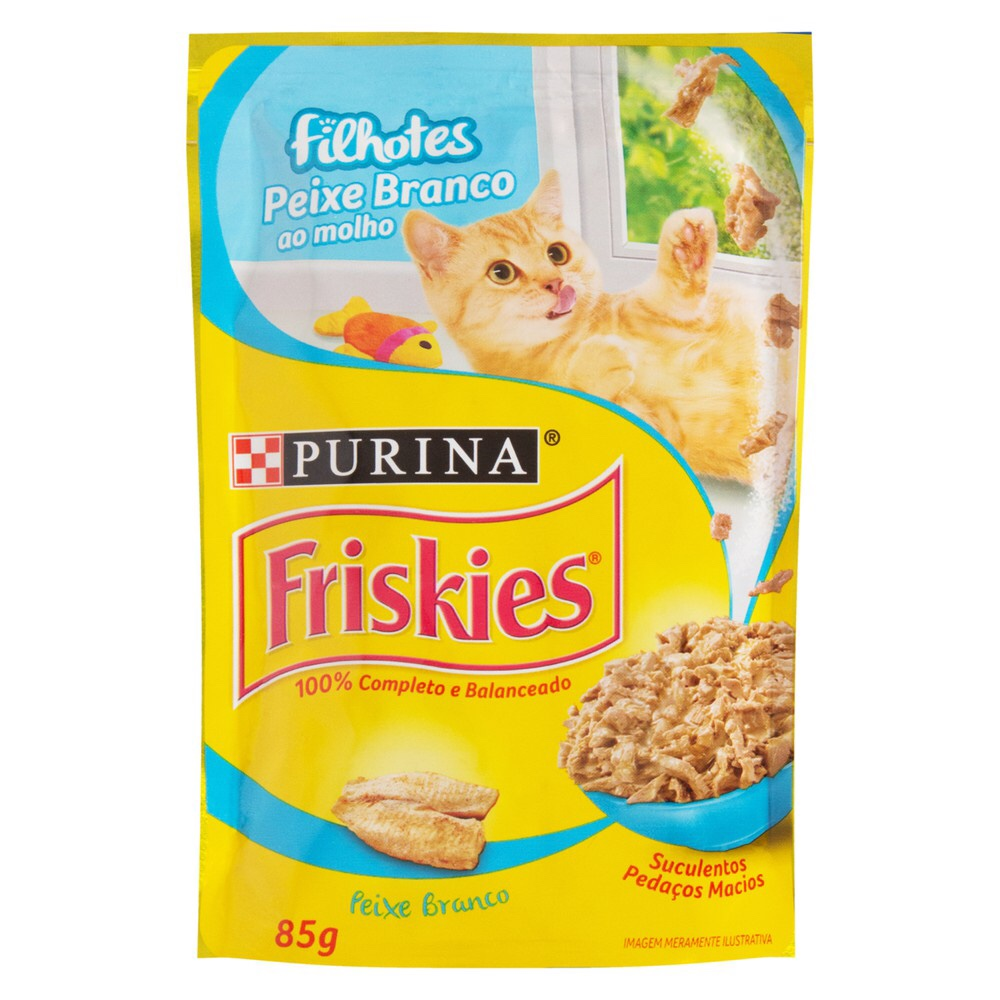 Alimento úmido Friskies Sachê Peixe Branco ao Molho para Gatos Filhotes - Nestlé Purina (85g)