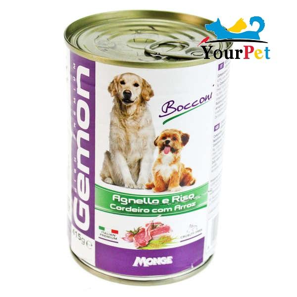 Alimento Úmido Gemon pedaços de Cordeiro com Arroz para Cães - Monge (415g)