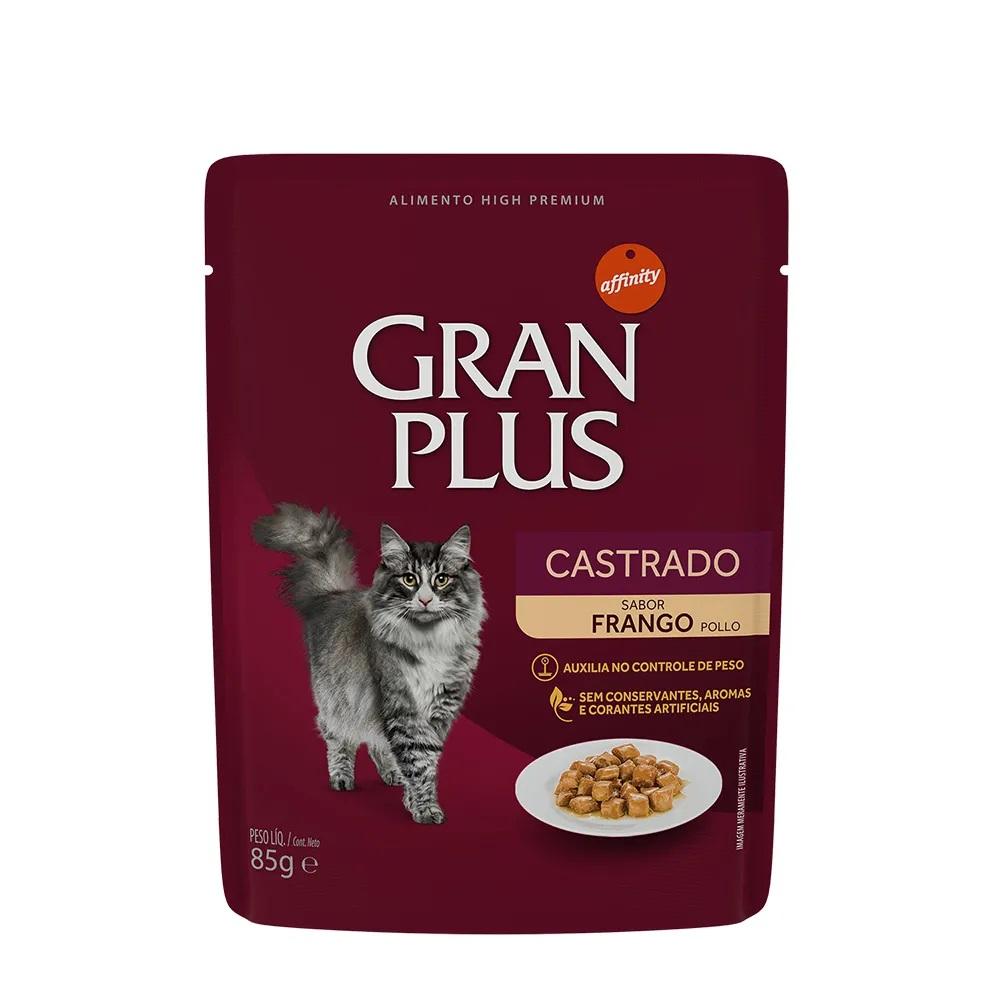 Alimento úmido Gran Plus Sachê Castrado Frango para Gatos - Affinity Guabi (85g)