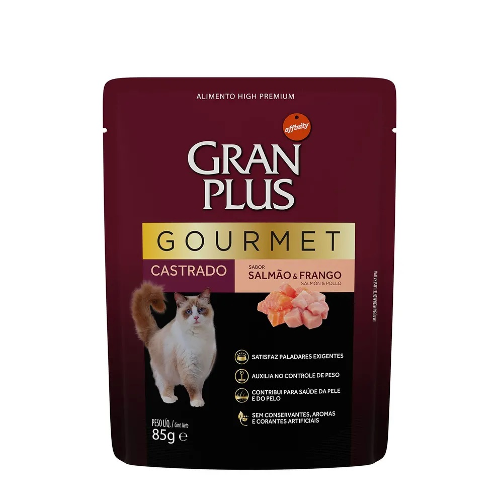Alimento úmido Gran Plus Sachê Gourmet Salmão e Frango para Gatos Castrados - Affinity Guabi (85g)
