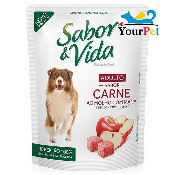 Alimento úmido Sabor & Vida Sachê Carne ao Molho com Maçã para Cães Adultos - Guabi (100g)