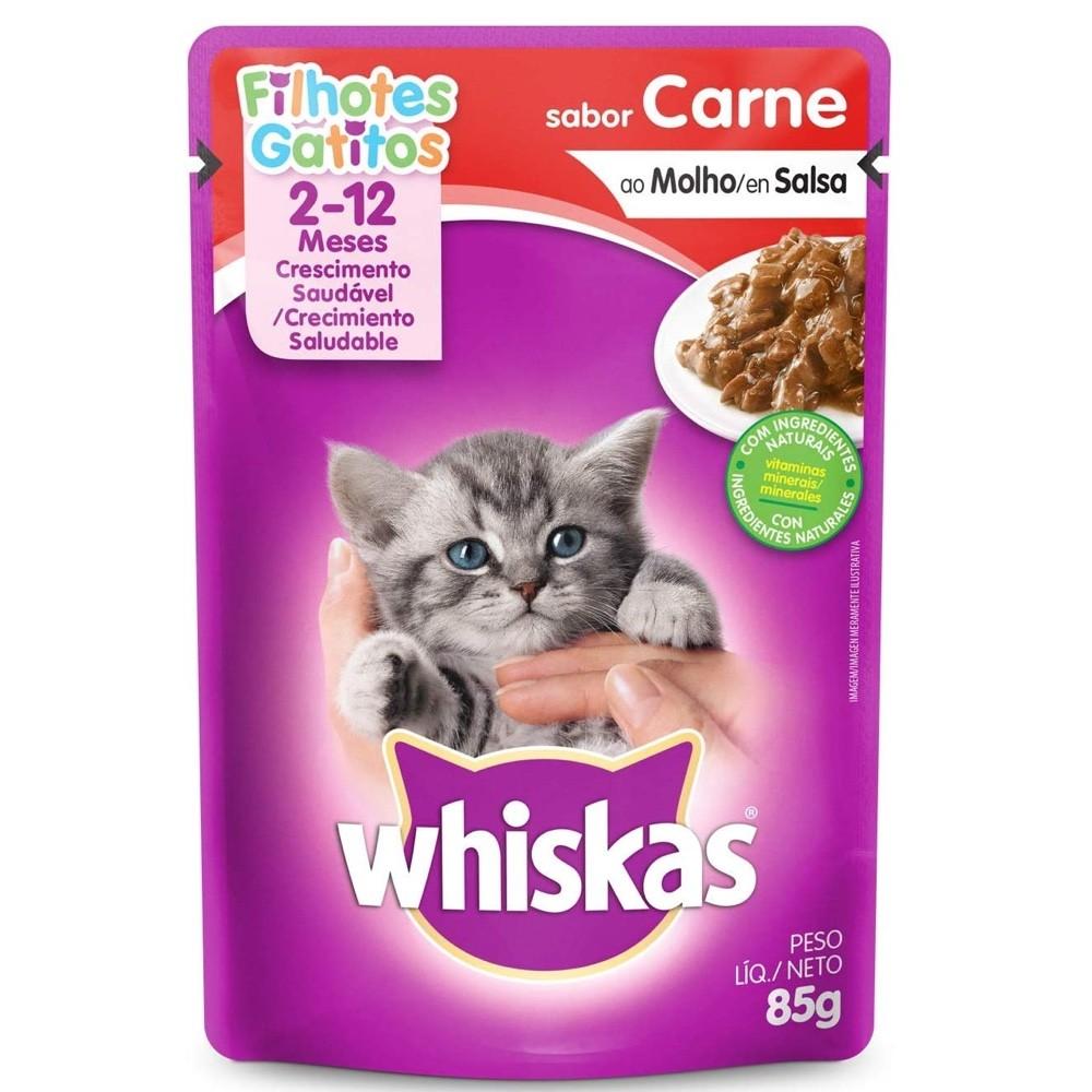 Alimento úmido Whiskas com ingredientes naturais - Sachê Sabor Carne ao Molho para Gatos Filhotes - Mars (85g)