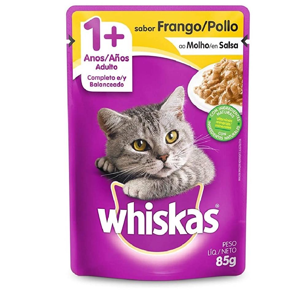 Alimento úmido Whiskas com ingredientes naturais - Sachê Sabor Frango ao Molho para Gatos Adultos - Mars (85g)