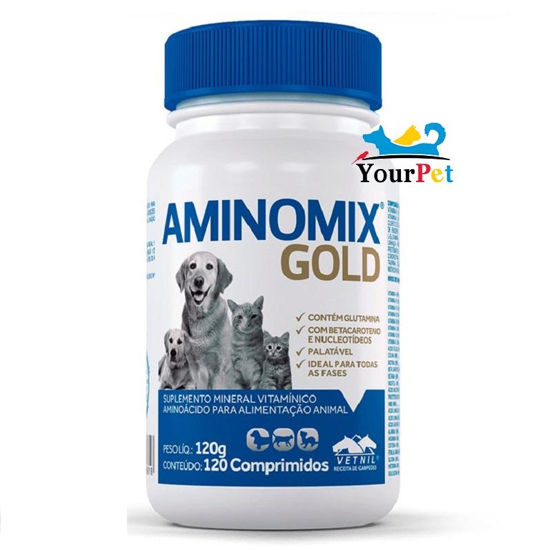 Aminomix Gold - Suplemento Mineral vitamínico aminoácido para alimentação animal - Vetnil (120 comprimidos)