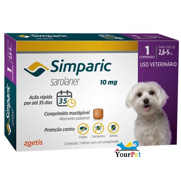 Antipulgas, Carrapatos e Sarnas Simparic 10 mg (Sarolaner) para Cães de 2,6 a 5 kg - Zoetis (1 comprimido)