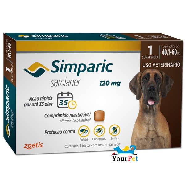 Antipulgas, Carrapatos e Sarnas Simparic 120 mg (Sarolaner) para Cães de 40,1 a 60 kg - Zoetis (1 comprimido)