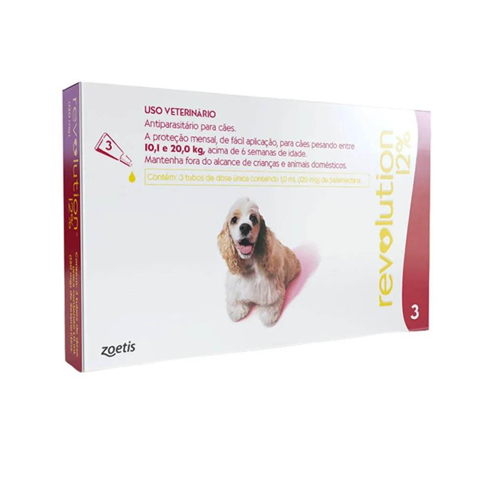 Antipulgas, Carrapatos, Sarnas e Vermes Revolution 12% para Cães de 10,1 a 20 kg (3 tubos) - Zoetis
