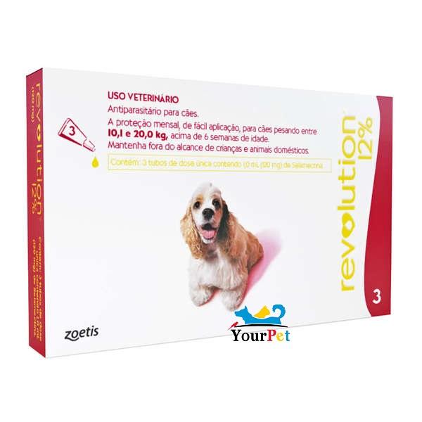 Antipulgas, Carrapatos, Sarnas e Vermes Revolution 12% para Cães de 10,1 a 20 kg - Zoetis (combo com 3 pipetas)