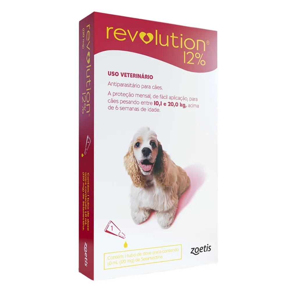 Antipulgas, Carrapatos, Sarnas e Vermes Revolution 12% para Cães de 10,1 a 20kg (1 tubo) - Zoetis
