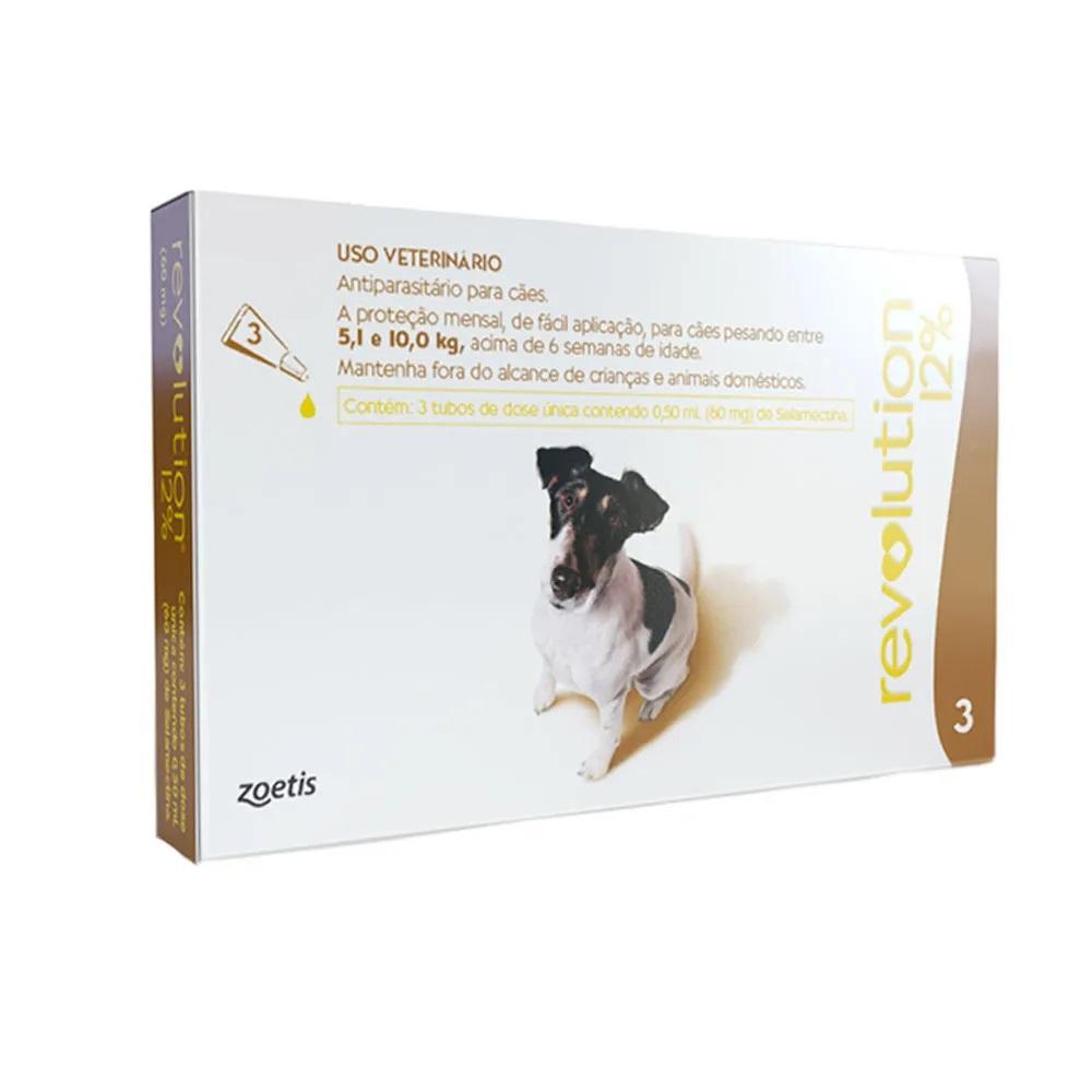 Antipulgas, Carrapatos, Sarnas e Vermes Revolution 12% para Cães de 5,1 a 10 kg (3 tubos) - Zoetis