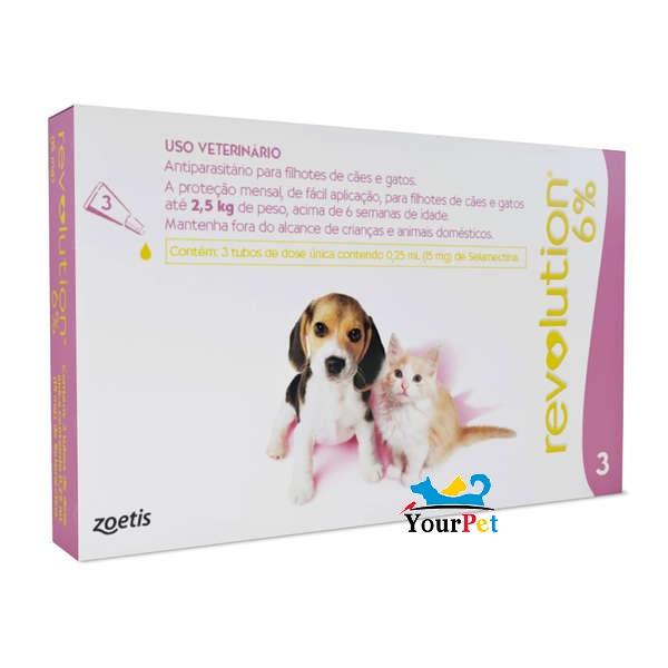 Antipulgas, Carrapatos, Sarnas e Vermes Revolution 6% para Cães e Gatos de até 2,5kg - Zoetis (combo com 3 pipetas)