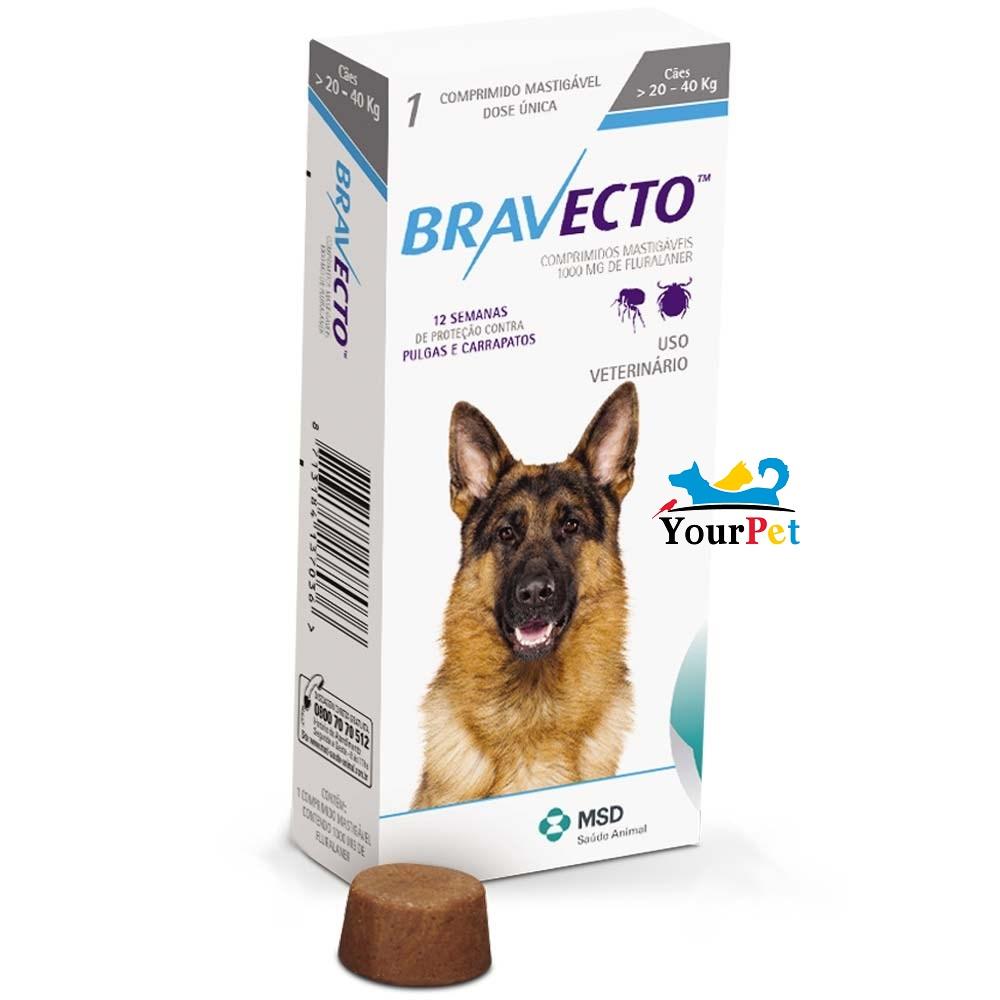 Antipulgas e Carrapatos Bravecto 1000 mg para Cães de 20 a 40 kg - MSD