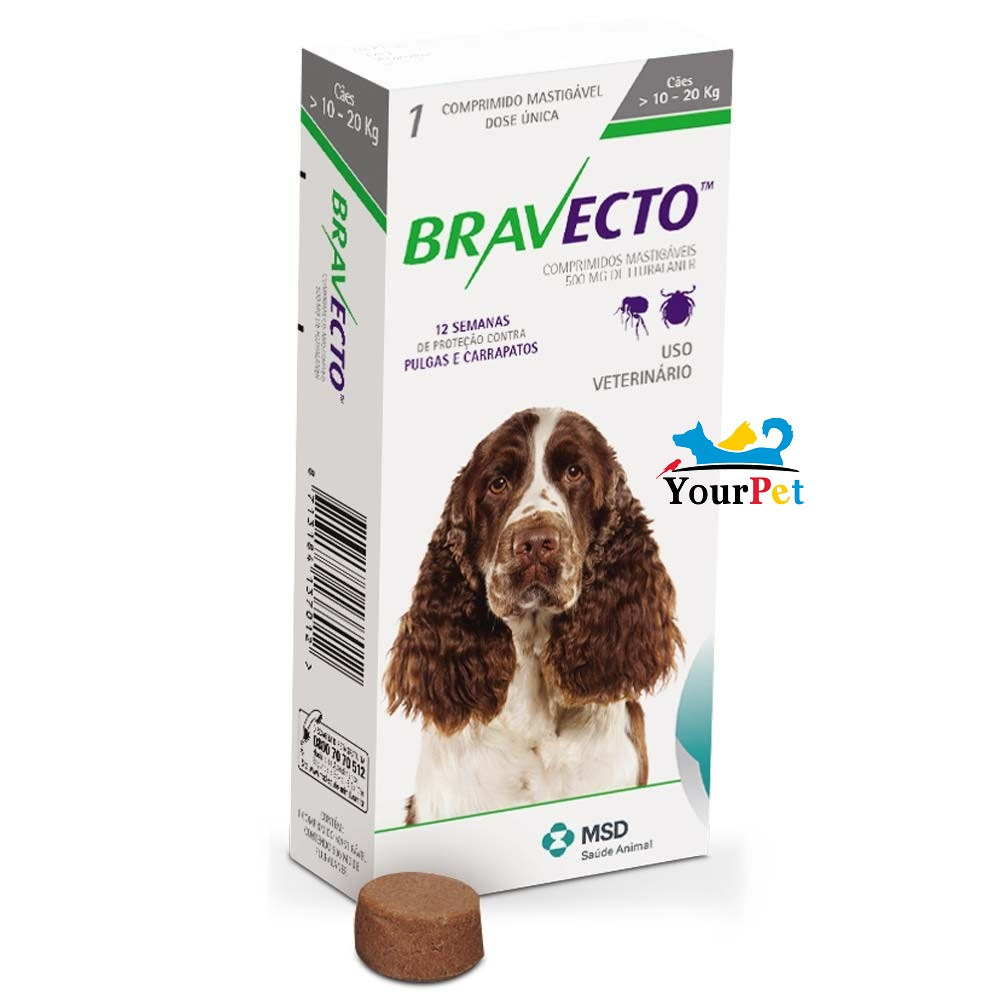 Antipulgas e Carrapatos Bravecto 500 mg para Cães de 10 a 20 kg - MSD