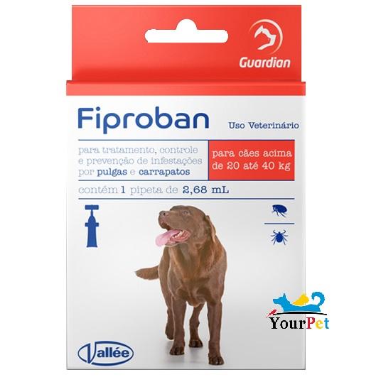 Antipulgas e Carrapatos Fiproban Cães de 20 até 40 kg - Vallee (1 pipeta de 2,68 ml)