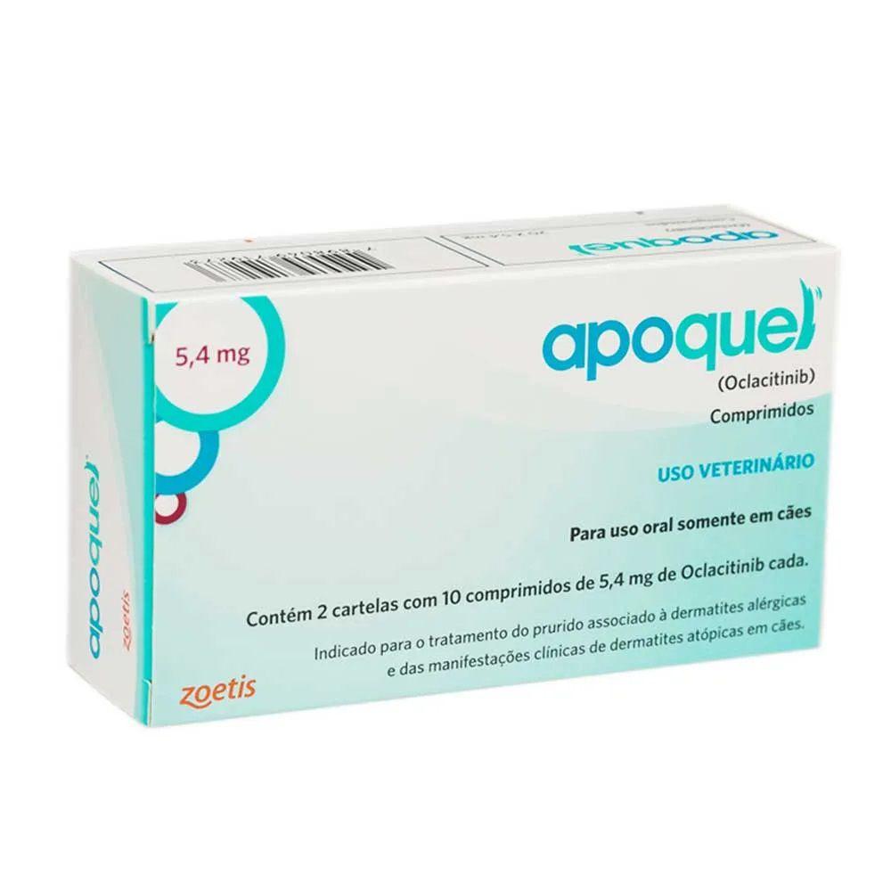 Apoquel 5,4 mg (Oclacitinib) Dermatológico para Cães - Zoetis (20 comprimidos)
