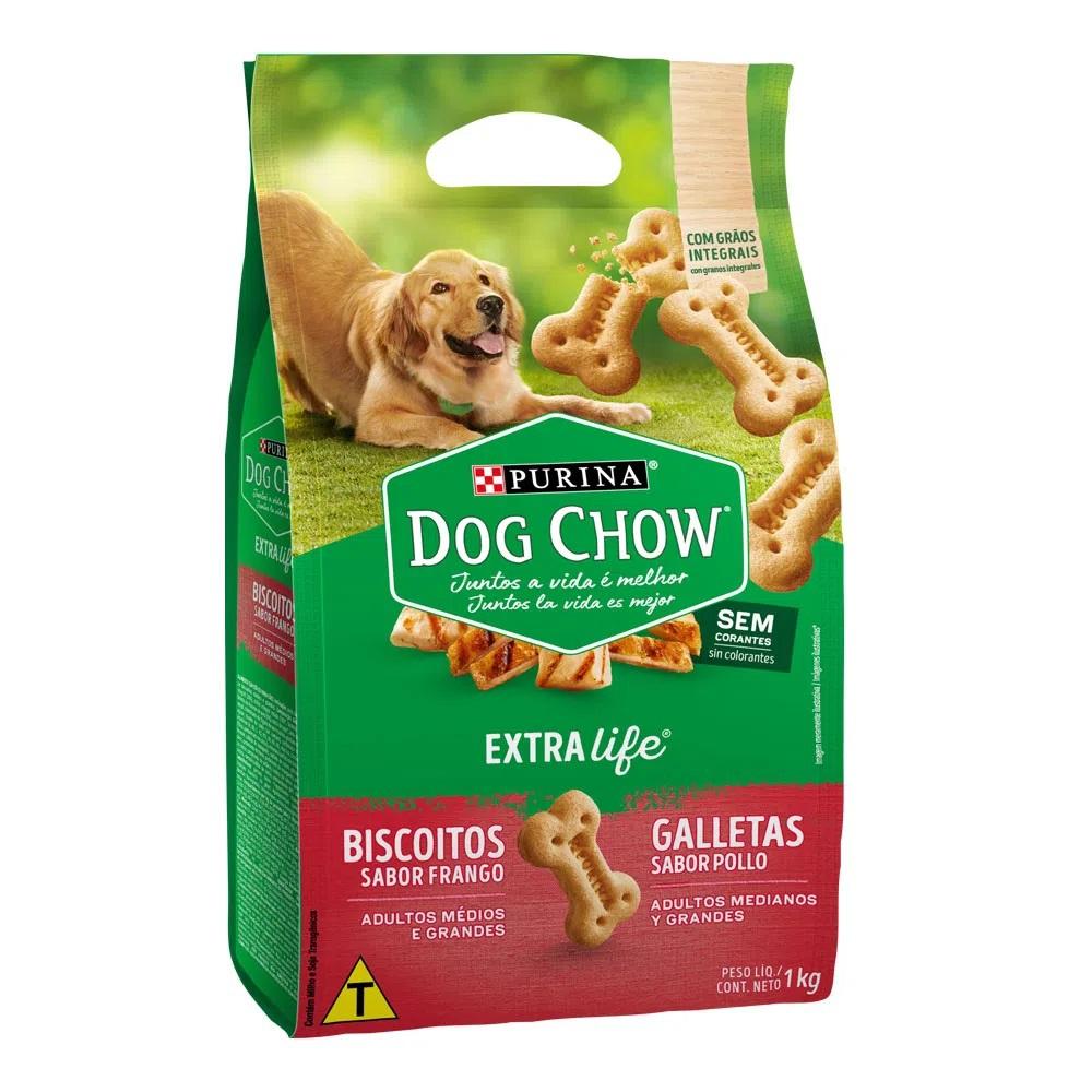 Biscoito Dog Chow para Cães de Raças Médias e Grandes Extra Life - Nestlé Purina (1 kg)