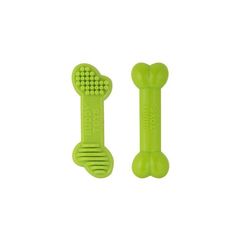 Brinquedo de Nylon para Cães Destruidores - Ossinhos Pequenos de Nylon - Buddy Toys (Verde flúor)