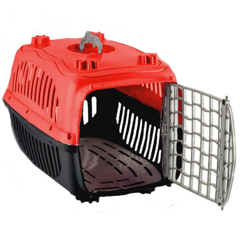 Caixa de Transporte com Sanitário N2º para Cães e Gatos - Burdog (Vermelho)