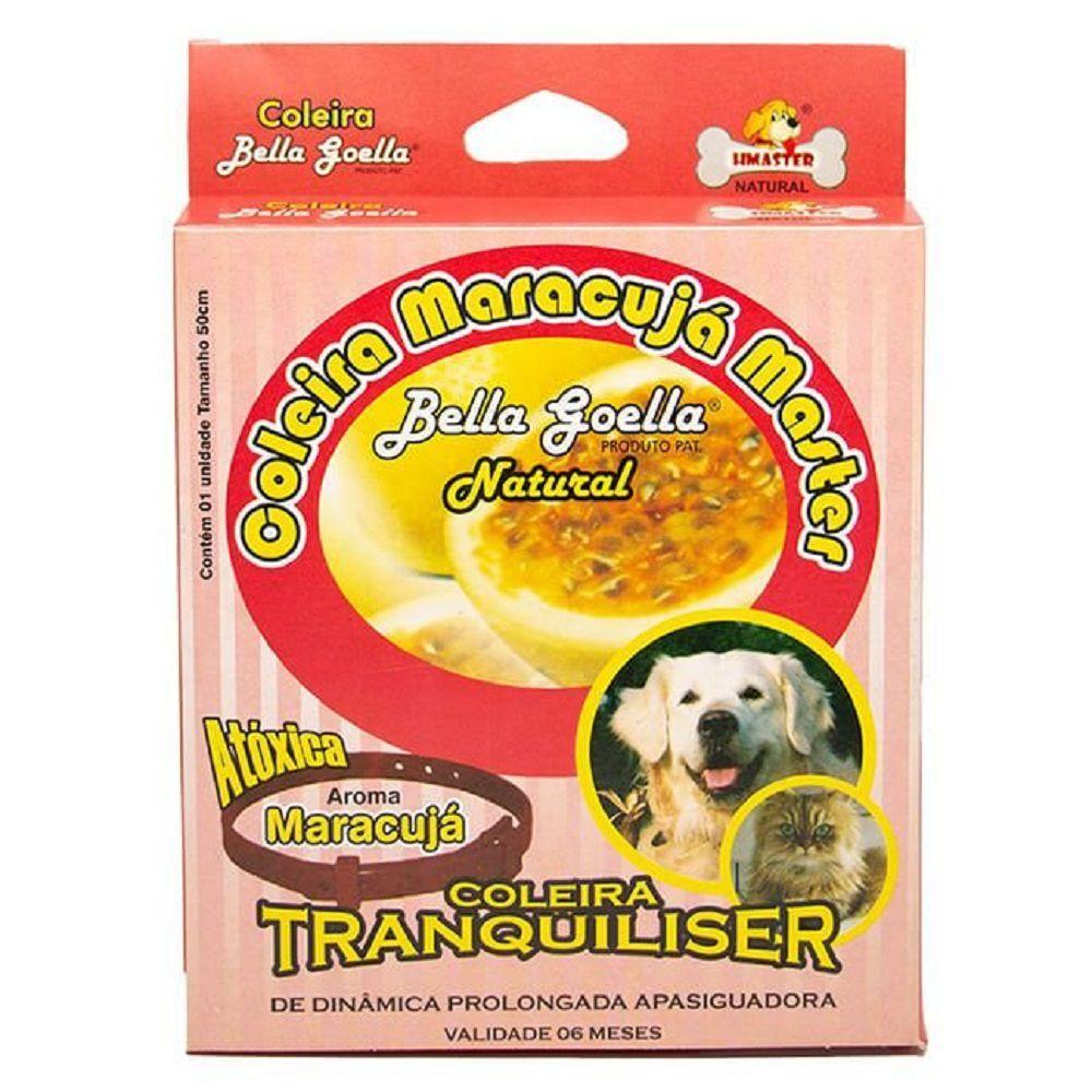Coleira Natural Antiestresse Tranquiliser Maracujá Master Plus para Cães e Gatos - Bella Goella (50 cm)